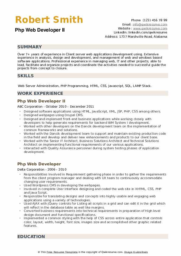 PHP Web Developer Resume example