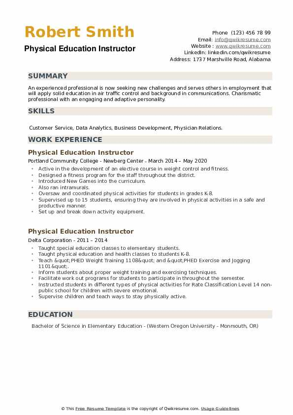 Physical Education Instructor Resume example