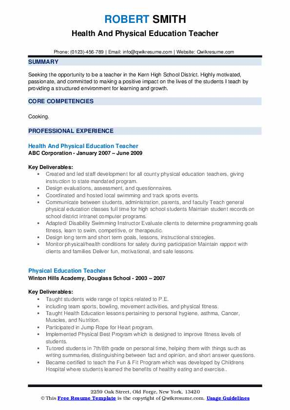 Health And Physical Education Teacher Resume Model