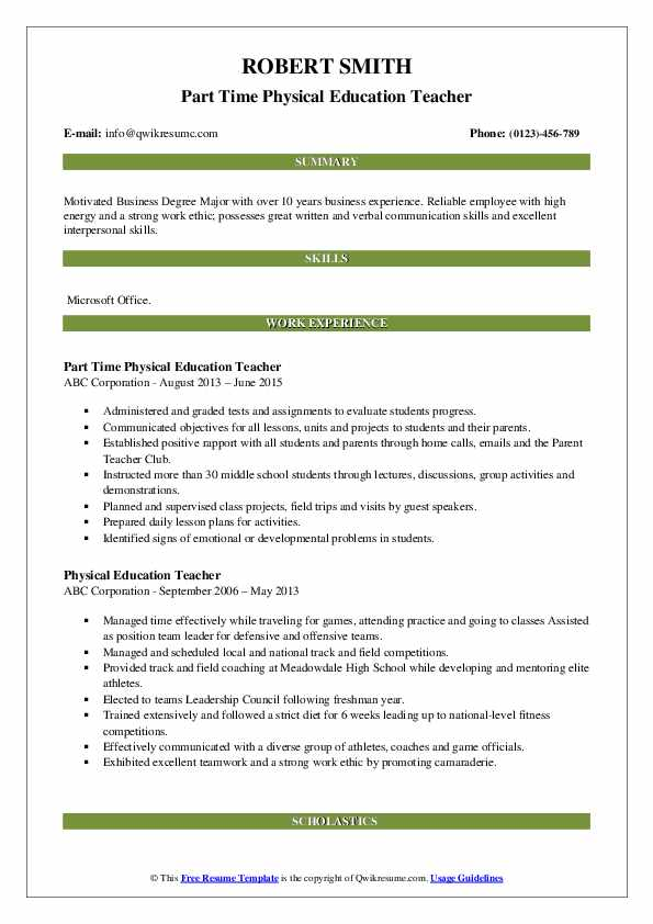 Part Time Physical Education Teacher Resume Template