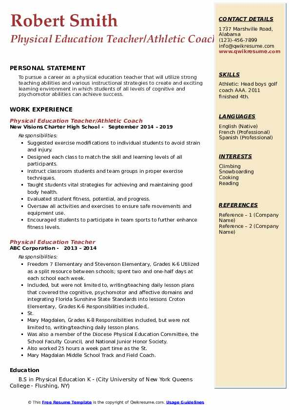 Physical Education Teacher/Athletic Coach Resume Model