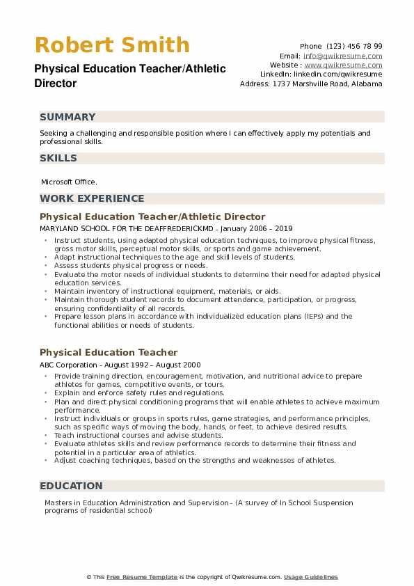 Physical Education Teacher/Athletic Director Resume Example