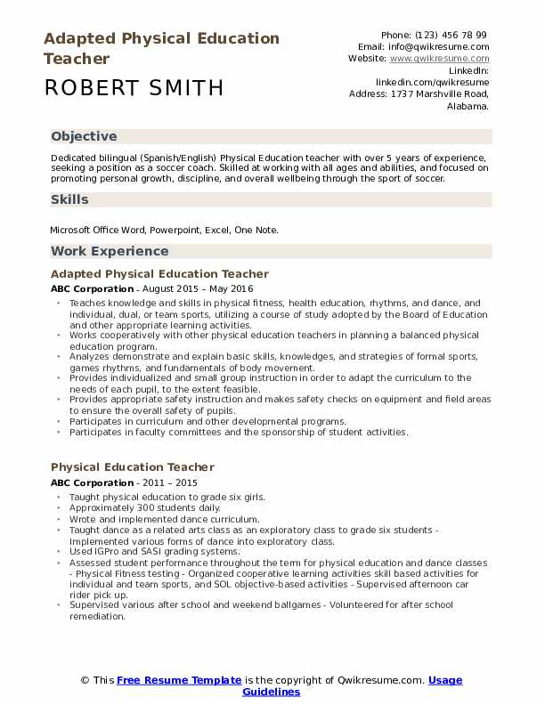 Adapted Physical Education Teacher Resume Model