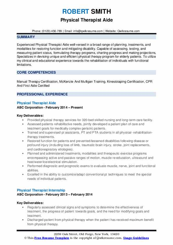 Physical Therapist Aide Resume Format