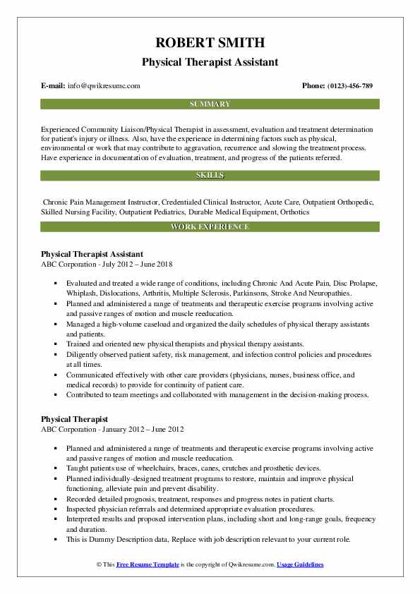 Physical Therapist Assistant Resume Format