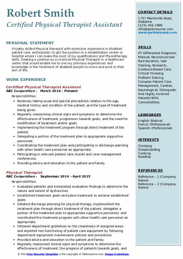 Certified Physical Therapist Assistant Resume Model
