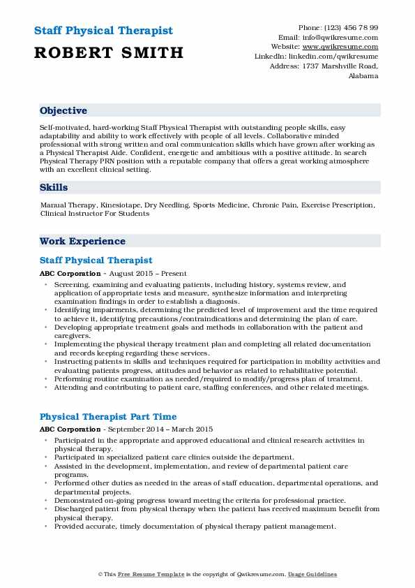 Staff Physical Therapist Resume Sample