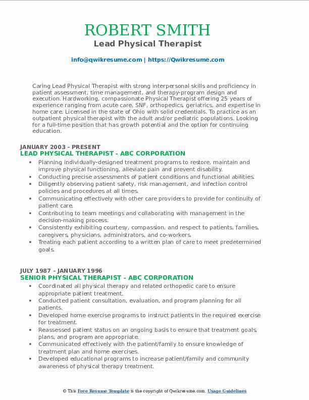 Lead Physical Therapist Resume Sample