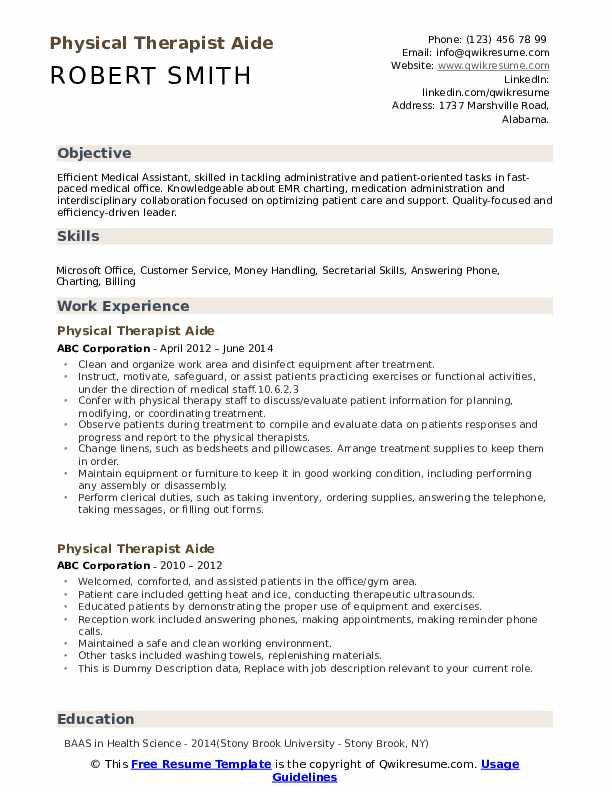 Physical Therapist Aide Resume example