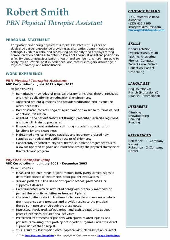 physical therapist assistant resume samples