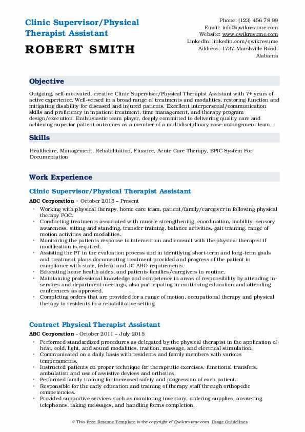 Physical Therapist Assistant Resume Samples Qwikresume