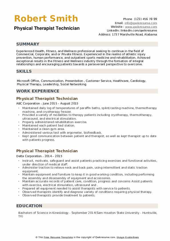 Physical Therapist Technician Resume example
