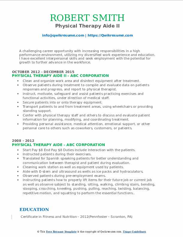 Physical Therapy Aide II Resume Template