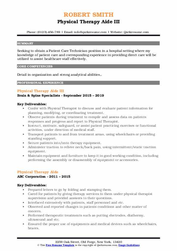Physical Therapy Aide III Resume Template