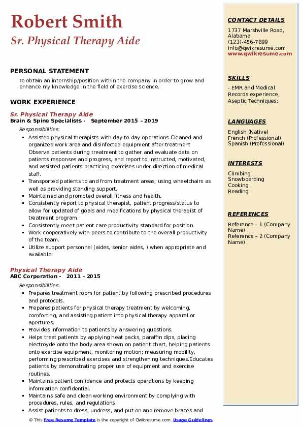 Sr. Physical Therapy Aide Resume Model