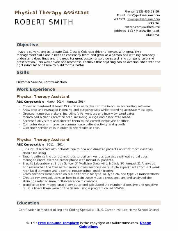 Physical Therapy Assistant Resume Samples Qwikresume