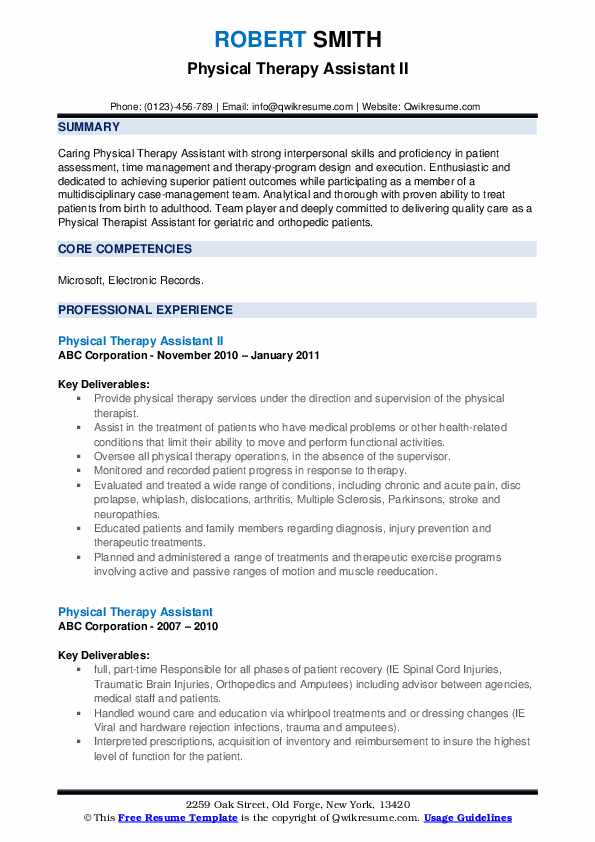 Physical Therapy Assistant II Resume Sample
