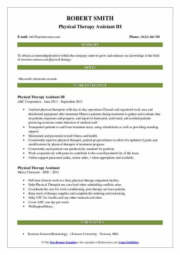 Physical Therapy Assistant III Resume Format