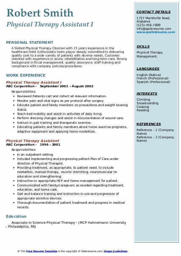 Physical Therapy Assistant I Resume Sample