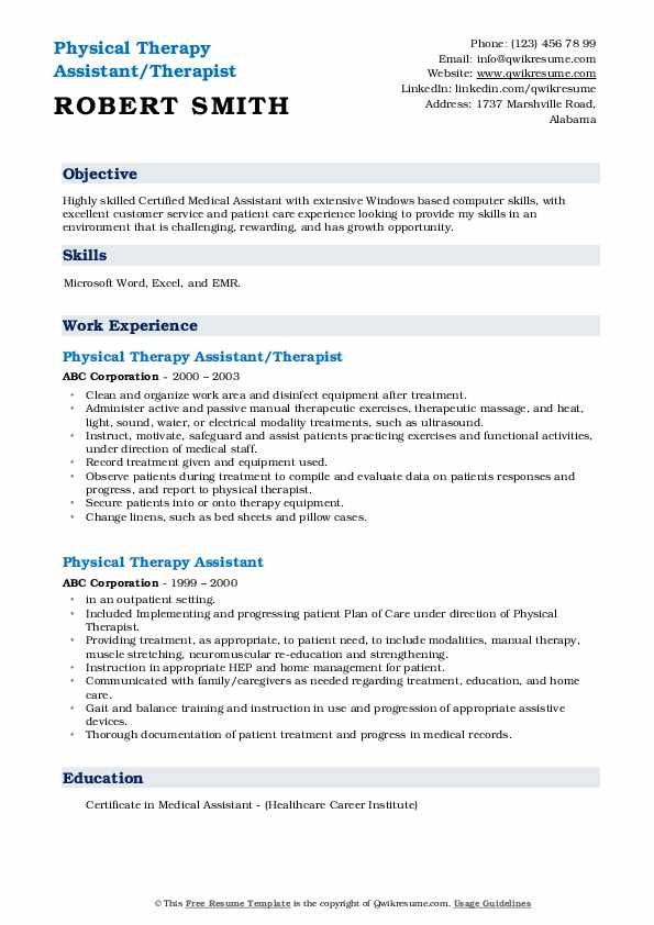 Physical Therapy Assistant/Therapist Resume Template