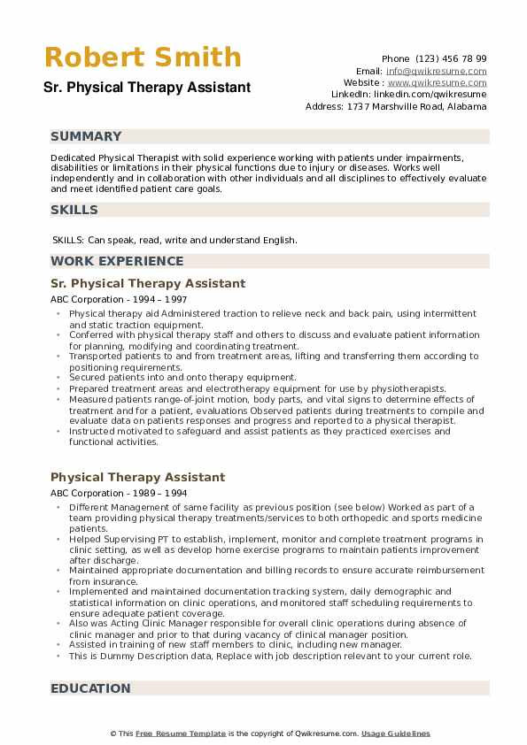 Sr. Physical Therapy Assistant Resume Template