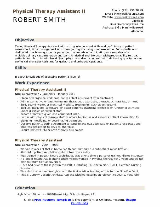 Physical Therapy Assistant II Resume Example