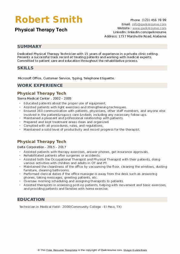Physical Therapy Tech Resume example