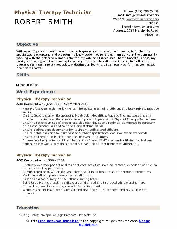 Physical Therapy Technician Resume Format