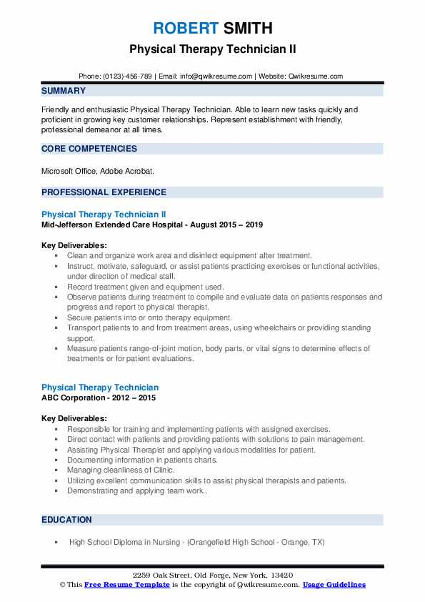 Physical Therapy Technician II Resume Sample