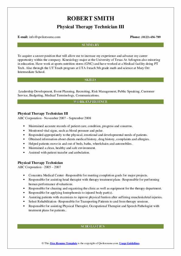 Physical Therapy Technician III Resume Template