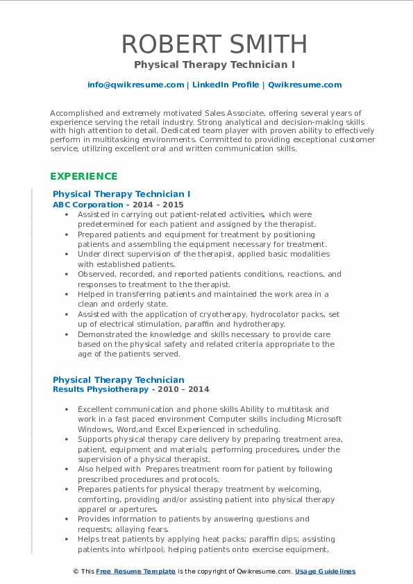 Physical Therapy Technician Resume Samples Qwikresume