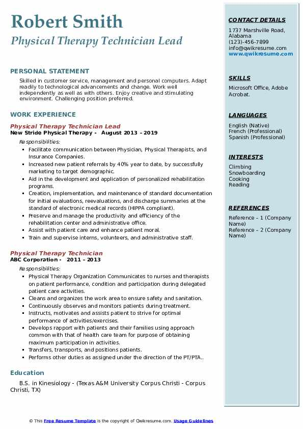 Physical Therapy Technician Lead Resume Example