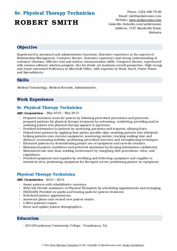 Sr. Physical Therapy Technician Resume Format