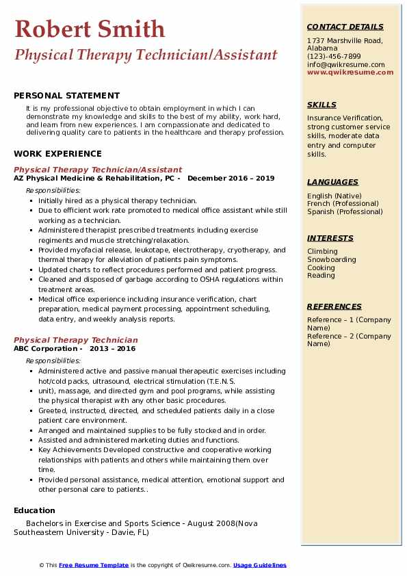 Physical Therapy Technician/Assistant  Resume Model