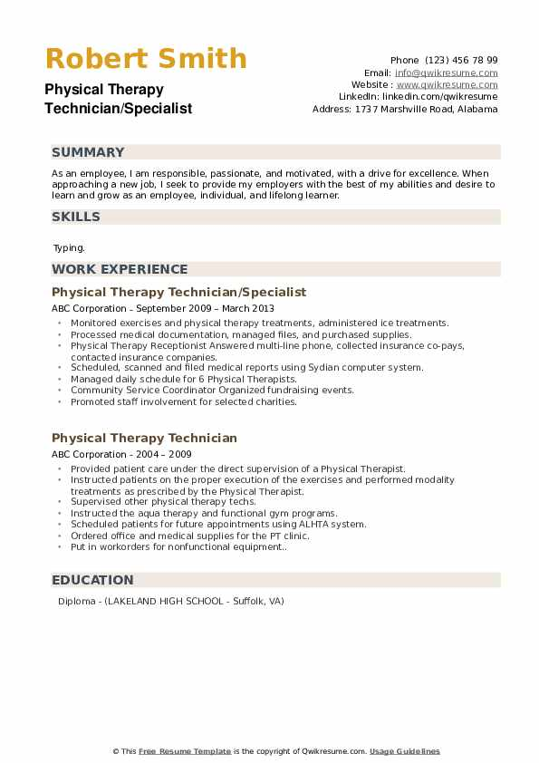 Physical Therapy Technician/Specialist Resume Model