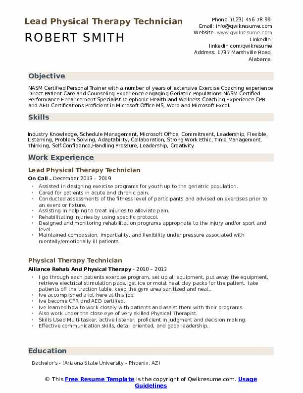 Lead Physical Therapy Technician Resume Model