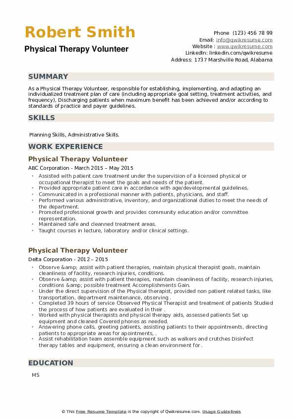 Physical Therapy Volunteer Resume example