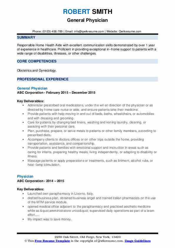 General Physician Resume Template