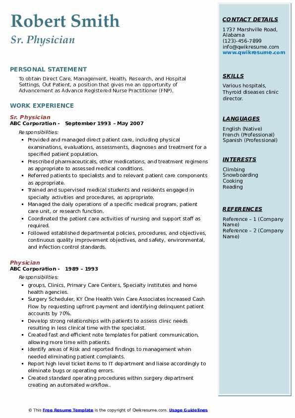 Sr. Physician Resume Format