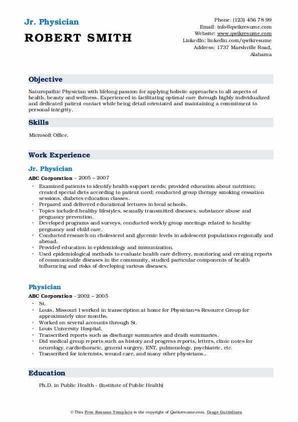 Jr. Physician Resume Format
