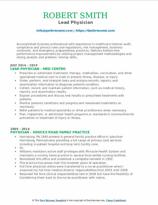 Lead Physician Resume Model