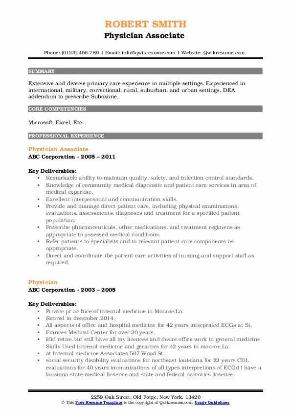 Physician Associate  Resume Format