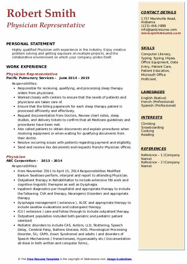 Physician Representative Resume Format
