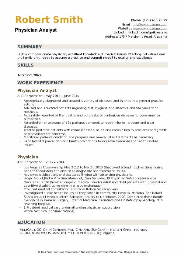 Physician Analyst Resume Model