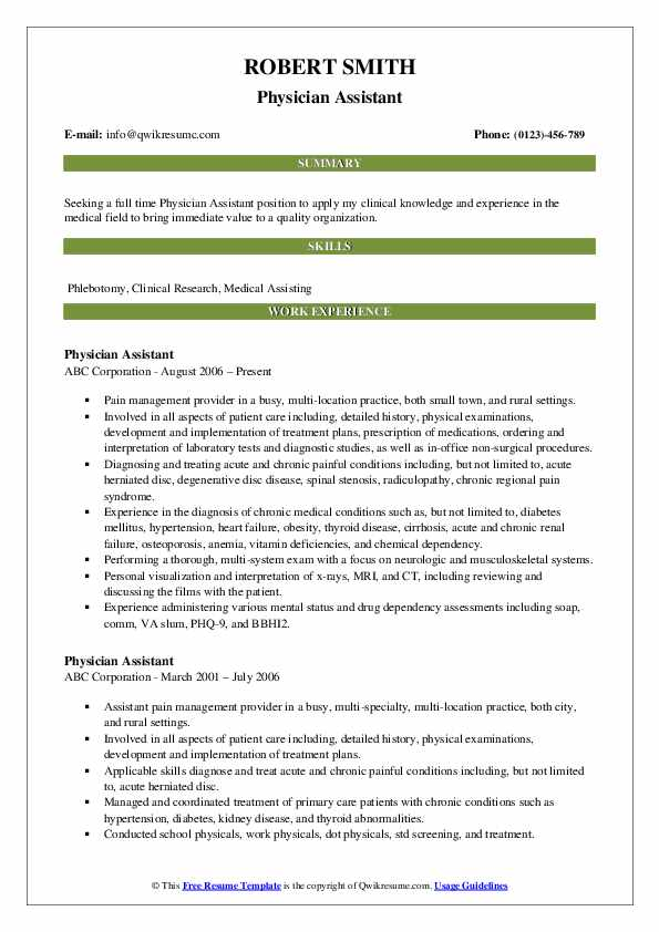 Physician Assistant Resume Samples | QwikResume