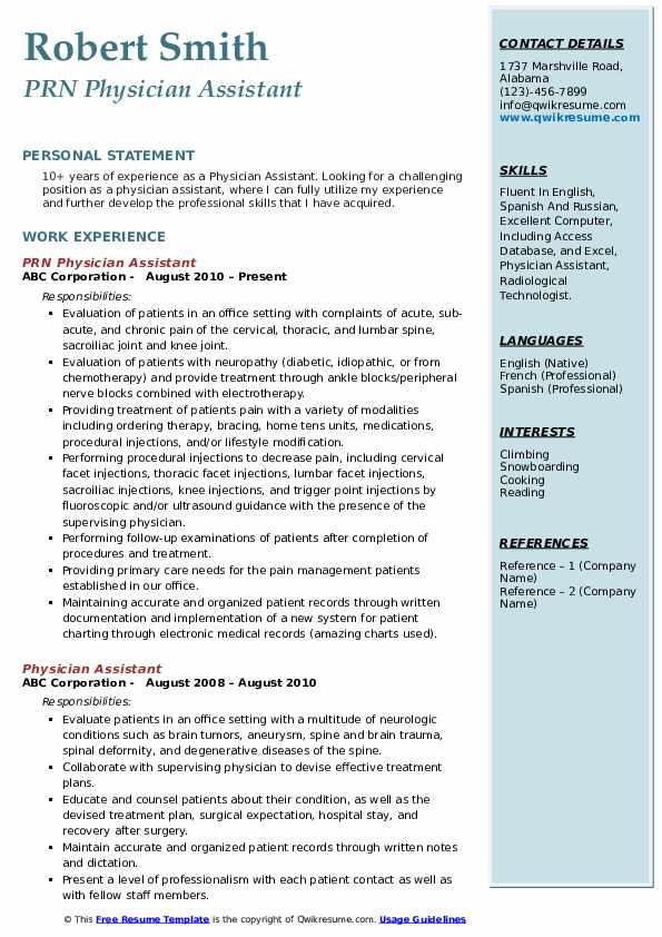 Physician Assistant Resume Samples Qwikresume