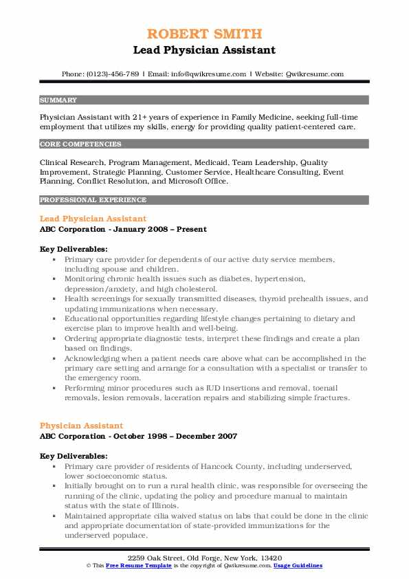 Lead Physician Assistant Resume Template
