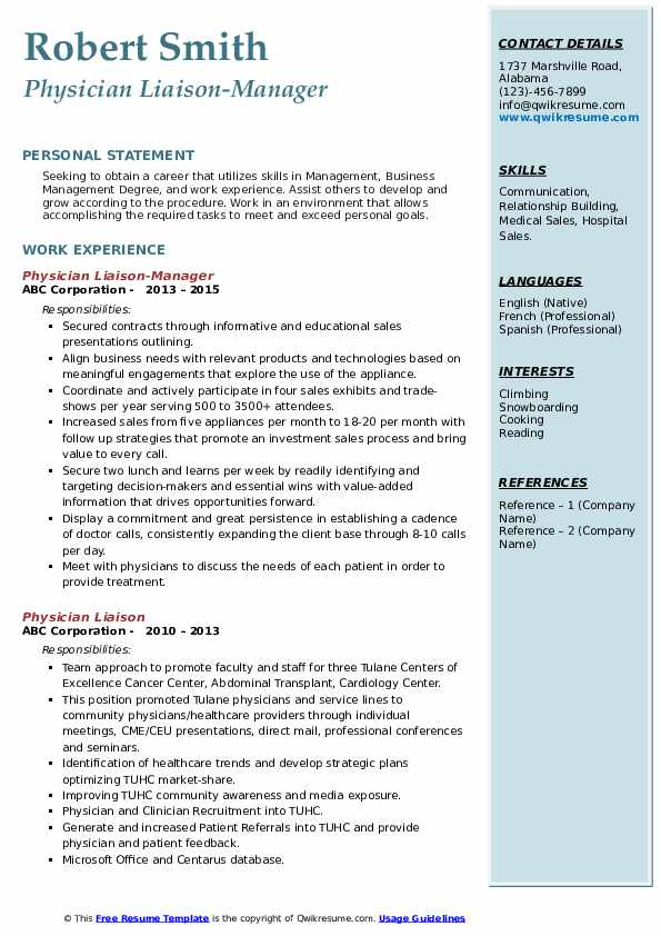 Physician Liaison-Manager Resume Model
