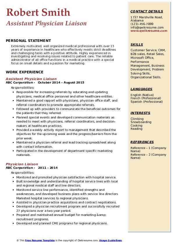 Assistant Physician Liaison Resume Model