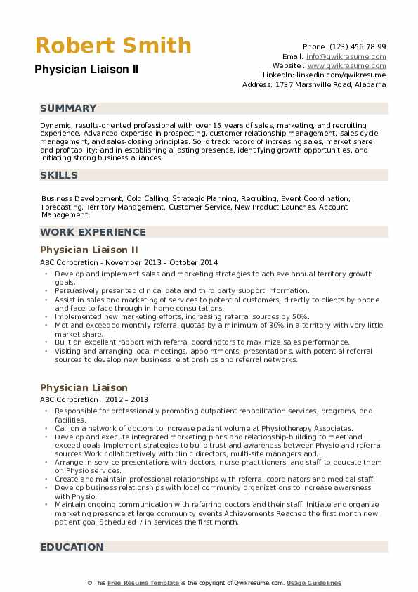 Physician Liaison II Resume Example